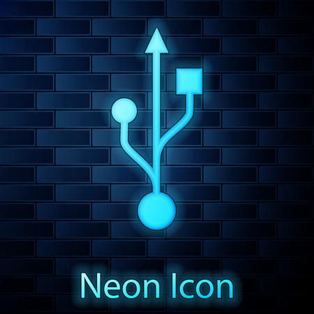 Glowing neon USB symbol icon isolated on brick wall background. Vector Illustration Çizim
