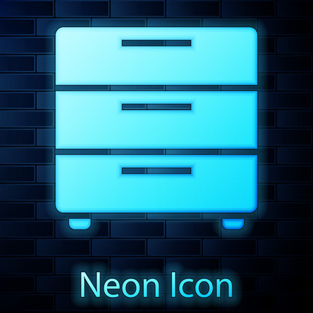 Glowing neon Furniture nightstand icon isolated on brick wall background. Vector Illustration