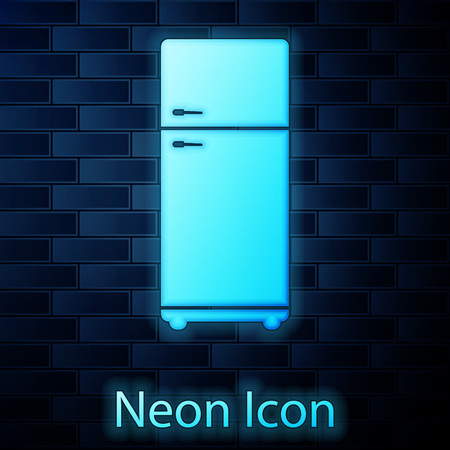 Glowing neon Refrigerator icon isolated on brick wall background. Fridge freezer refrigerator. Household tech and appliances. Vector Illustration Illustration