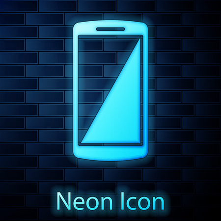 Glowing neon Smartphone, mobile phone icon isolated on brick wall background. Vector Illustration