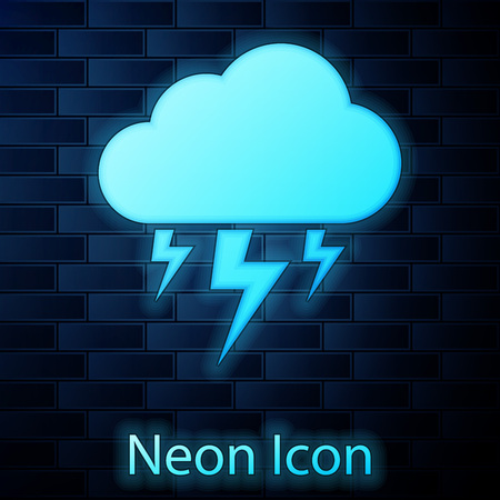 Glowing neon Storm icon isolated on brick wall background. Cloud and lightning sign. Weather icon of storm. Vector Illustration