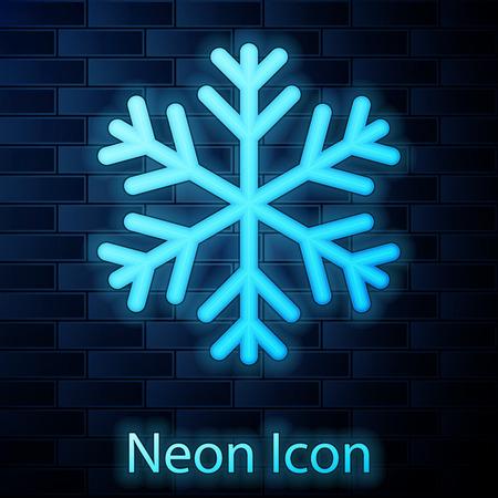 Glowing neonSnowflake icon isolated on brick wall background. Vector Illustration