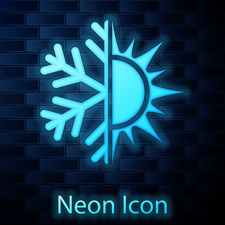 Glowing neon Hot and cold symbol. Sun and snowflake icon isolated on brick wall background. Winter and summer symbol. Vector Illustration