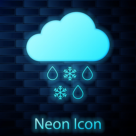 Glowing neon Cloud with snow and rain icon isolated on brick wall background. Weather icon. Vector Illustration