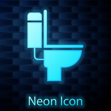 Glowing neon Toilet bowl icon isolated on brick wall background. Vector Illustration Illustration