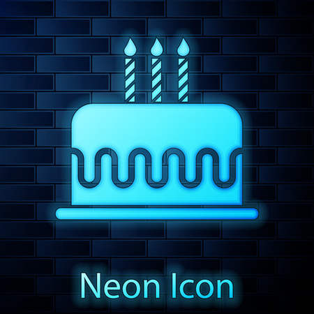 Glowing neon Cake with burning candles icon isolated on brick wall background. Happy Birthday. Vector Illustration