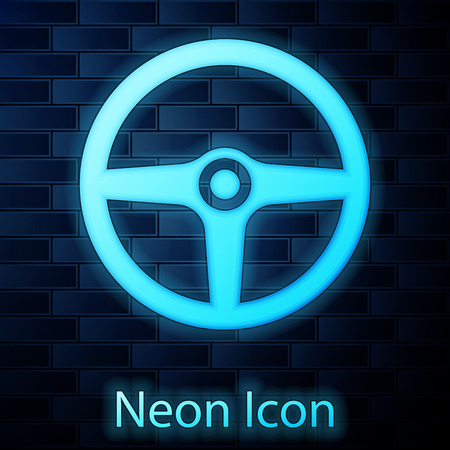 Glowing neon Steering wheel icon isolated on brick wall background. Car wheel icon. Vector Illustration Standard-Bild - 124802015