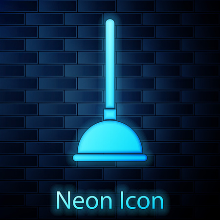 Glowing neon Rubber plunger with wooden handle for pipe cleaning icon isolated on brick wall background. Toilet plunger. Vector Illustration Banque d'images - 124802018
