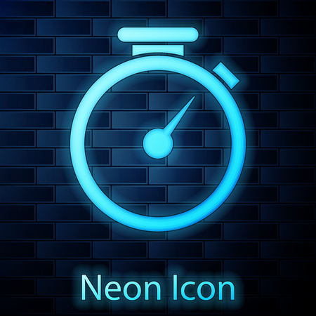 Glowing neon Stopwatch icon isolated on brick wall background. Time timer sign. Vector Illustration Illustration