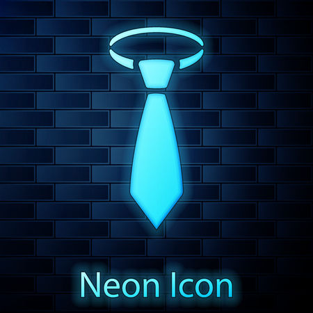 Glowing neon Tie icon isolated on brick wall background. Necktie and neckcloth symbol. Vector Illustration