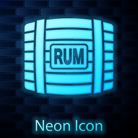 Glowing neon Wooden barrel with rum icon isolated on brick wall background. Vector Illustration