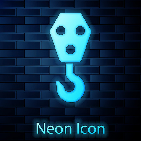 Glowing neon Industrial hook icon isolated on brick wall background. Crane hook icon. Vector Illustration