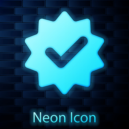Glowing neon Approved or certified medal with ribbons and check mark icon isolated on brick wall background. Vector Illustration