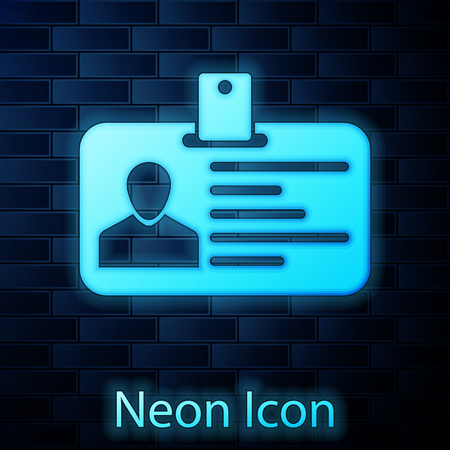 Glowing neon Identification badge icon isolated on brick wall background. Identification card. It can be used for presentation, identity of the company, advertising and etc. Vector Illustration