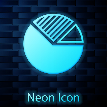 Glowing neon Pie chart infographic icon isolated on brick wall background. Diagram chart sign. Vector Illustration Illustration