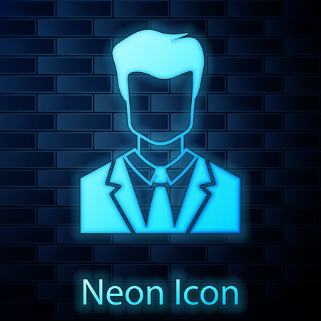 Glowing neon User of man in business suit icon isolated on brick wall background. Business avatar symbol - user profile icon. Male user sign. Vector Illustration Çizim