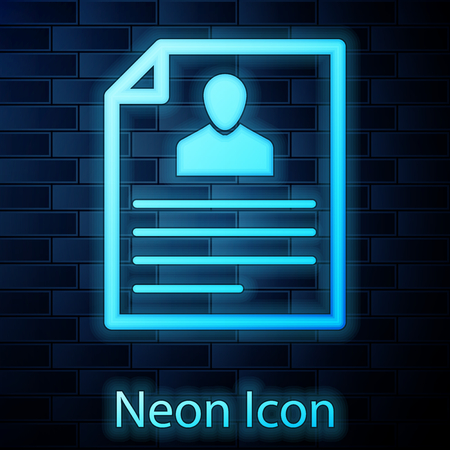 Glowing neon Resume icon isolated on brick wall background. CV application. Searching professional staff. Analyzing personnel resume. Vector Illustration