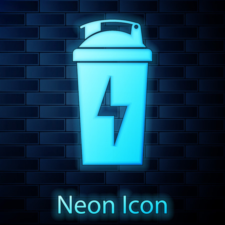 Glowing neon Fitness shaker icon isolated on brick wall background. Sports shaker bottle with lid for water and protein cocktails. Vector Illustration