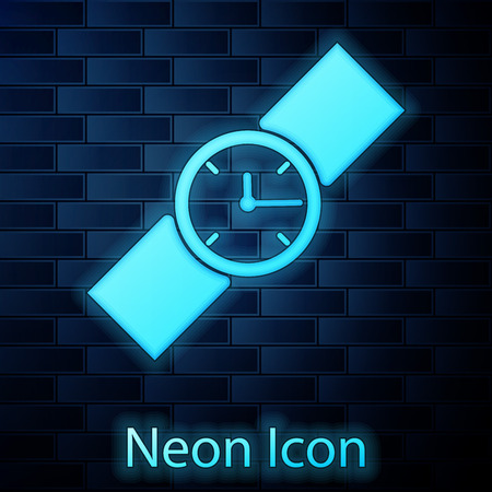 Glowing neon Wrist watch icon isolated on brick wall background. Wristwatch icon. Vector Illustration