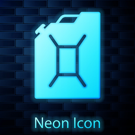Glowing neon Canister for gasoline icon isolated on brick wall background. Diesel gas icon. Vector Illustration