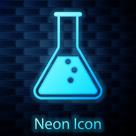 Glowing neon Test tube and flask - chemical laboratory test icon isolated on brick wall background. Vector Illustration