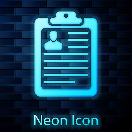 Glowing neon Clipboard with resume and man silhouette icon isolated on brick wall background. CV application. Curriculum vitae, job application form with profile photo concept. Vector Illustration 일러스트