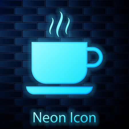 Glowing neon Coffee cup icon isolated on brick wall background. Tea cup. Hot drink coffee. Vector Illustration Illustration