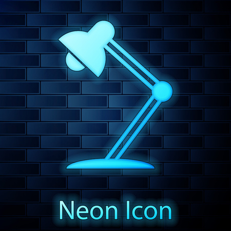 Glowing neon Table lamp icon isolated on brick wall background. Table office lamp. Vector Illustration