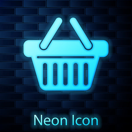 Glowing neon Shopping basket icon isolated on brick wall background. Vector Illustration