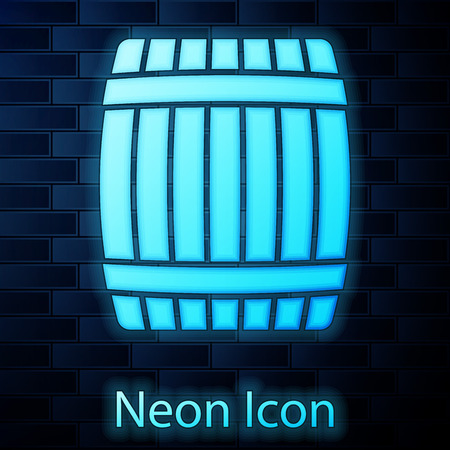 Glowing neon Wooden barrel icon isolated on brick wall background. Vector Illustration Illustration