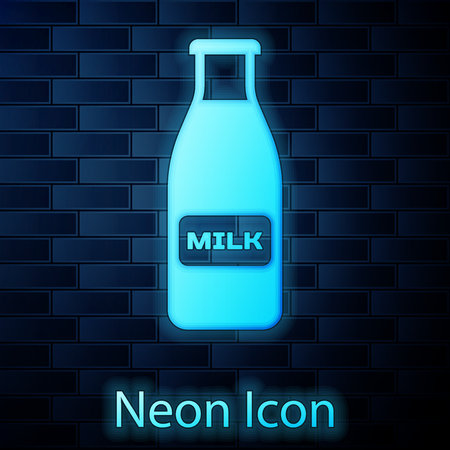 Glowing neon Closed glass bottle with milk and cap icon isolated on brick wall background. Vector Illustration