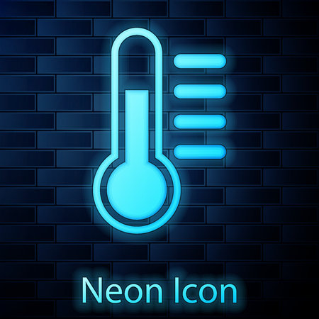 Glowing neon Thermometer icon isolated on brick wall background. Vector Illustration Ilustrace