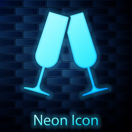 Glowing neon Glasses of champagne icon isolated on brick wall background. Vector Illustration