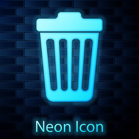 Glowing neon Trash can icon isolated on brick wall background. Garbage bin sign. Vector Illustration