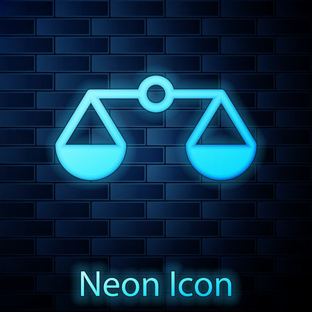 Glowing neon Scales of justice icon isolated on brick wall background. Court of law symbol. Balance scale sign. Vector Illustration Ilustrace