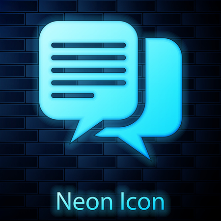 Glowing neon Chat icon isolated on brick wall background. Speech bubbles symbol. Vector Illustration