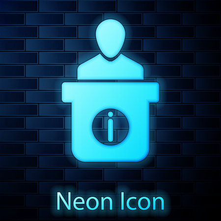 Glowing neon Information desk icon isolated on brick wall background. Man silhouette standing at information desk. Help person symbol. Information counter icon. Vector Illustration