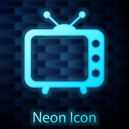 Glowing neon Tv icon isolated on brick wall background. Television sign. Vector Illustration Illustration