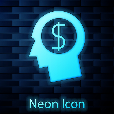 Glowing neon Business man planning mind icon isolated on brick wall background. Human head with dollar symbol. Idea to earn money. Business investment growth concept. Vector Illustration Çizim