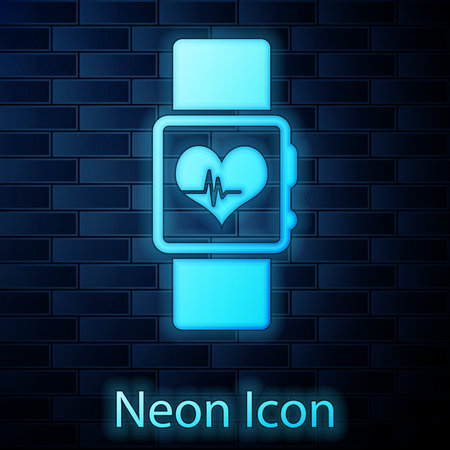 Glowing neon Smart watch showing heart beat rate icon isolated on brick wall background. Fitness App concept. Vector Illustration
