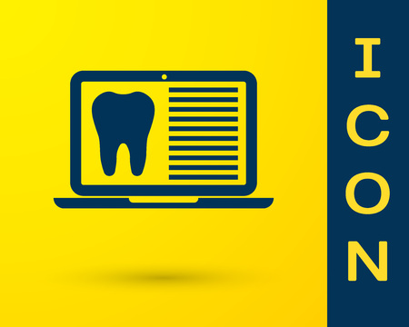 Blue Laptop with dental card or patient medical records icon isolated on yellow background. Dental insurance. Dental clinic report. Vector Illustration