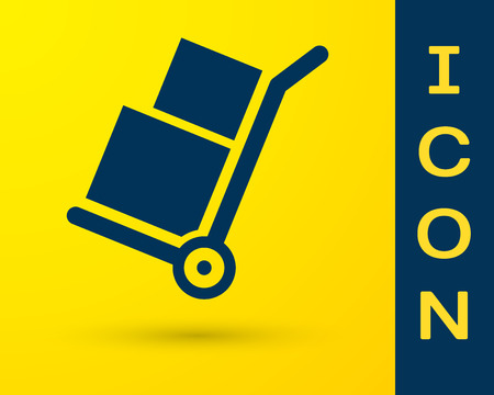 Blue Hand truck and boxes icon isolated on yellow background. Dolly symbol. Vector Illustration
