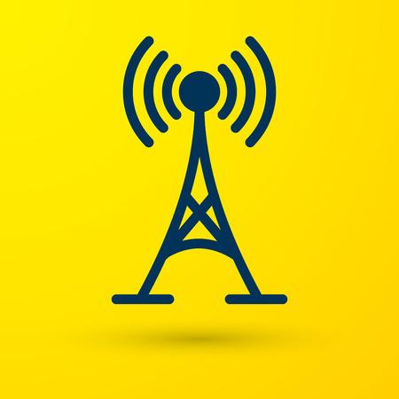 Blue Antenna icon isolated on yellow background. Radio antenna wireless. Technology and network signal radio antenna. Vector Illustration
