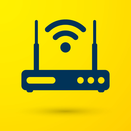 Blue Router and wi-fi signal symbol icon isolated on yellow background. Wireless ethernet modem router. Computer technology internet. Vector Illustration