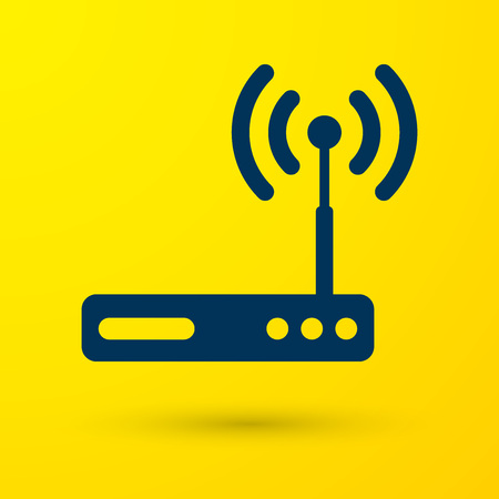 Blue Router and wi-fi signal symbol icon isolated on yellow background. Wireless ethernet modem router. Computer technology internet. Vector Illustration Vector Illustration