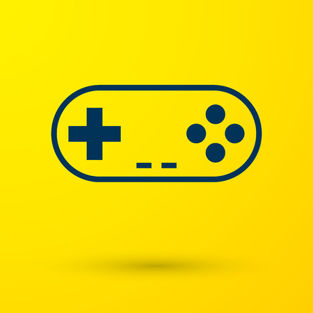 Blue Gamepad icon isolated on yellow background. Game controller. Vector Illustration