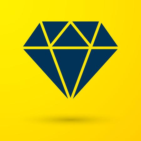 Blue Diamond sign isolated on yellow background. Jewelry symbol. Gem stone. Vector Illustration Ilustrace
