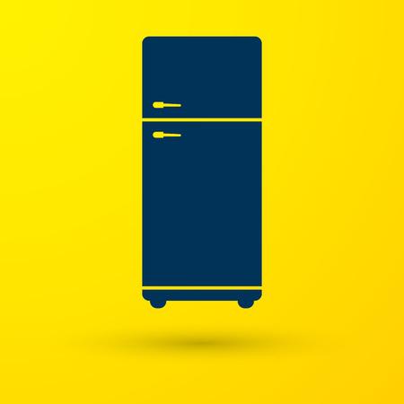 Icône de réfrigérateur bleu isolé sur fond jaune. Réfrigérateur congélateur réfrigérateur. Technologie et appareils ménagers. Illustration vectorielle