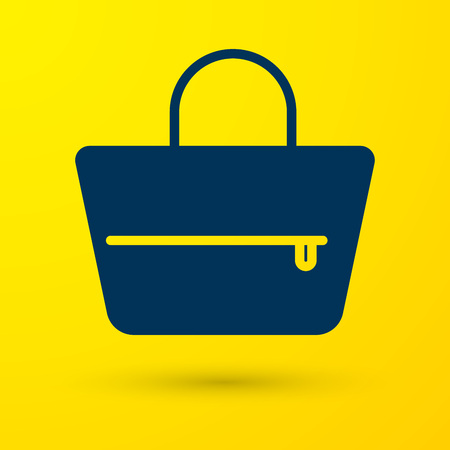 Blue Handbag icon isolated on yellow background. Female handbag sign. Glamour casual baggage symbol. Vector Illustration