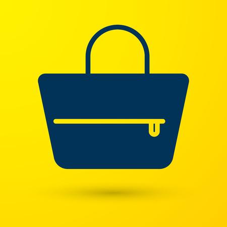 Blue Handbag icon isolated on yellow background. Female handbag sign. Glamour casual baggage symbol. Vector Illustration